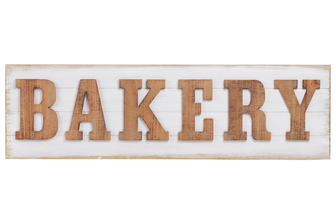 "UTC53927 Wood Rectangle Wall Art with Alphabet ""BAKERY"" Natural Finish Brown"