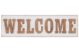 "UTC53928 Wood Rectangle Wall Art with Alphabet ""WELCOME"" Natural Finish Brown"