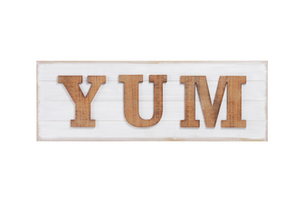 "UTC53930 Wood Rectangle Wall Art with Alphabet ""YUM"" Natural Finish Brown"