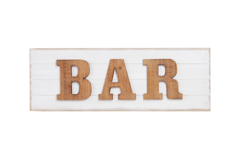 "UTC53931 Wood Rectangle Wall Art with Alphabet ""BAR"" Natural Finish Brown"