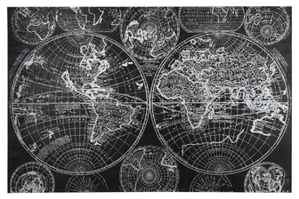 "UTC53932 Wood Rectangle Panel Giclee Print of ""World Map"" with Frame Painted Finish Black"