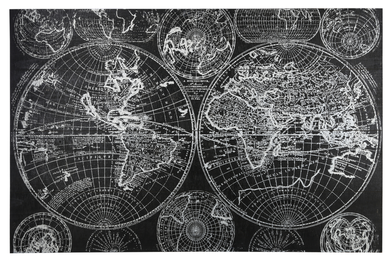 Wood Rectangle Panel Giclee Print Of World Map With Frame Painted Finish Black