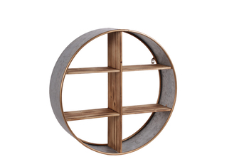 UTC54001 Metal Round Wall Shelf with Wood Divider, 6 Slots and Painted Gold Edges Galvanized Finish Gray