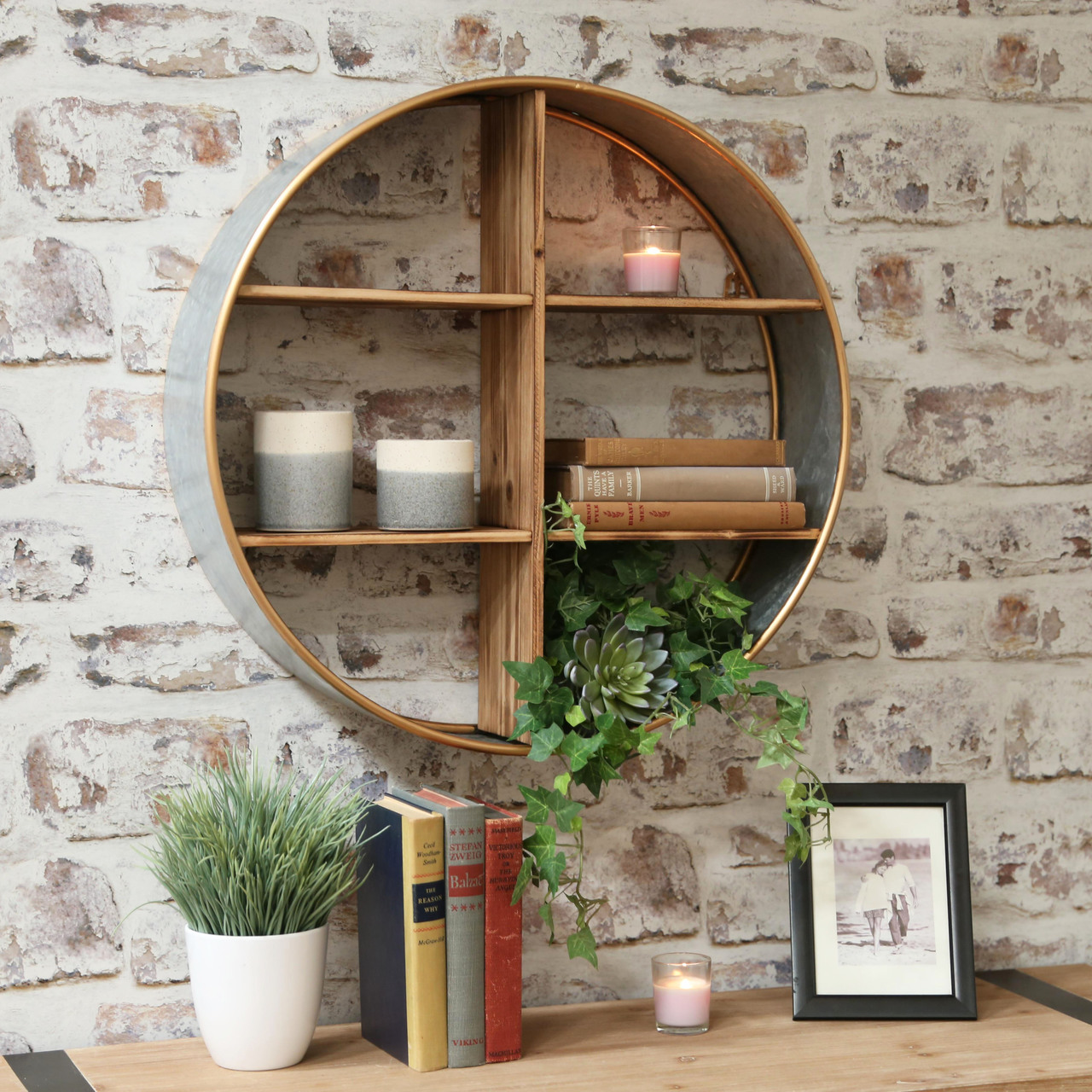 Metal Round Wall Shelf With Wood Divider 6 Slots And