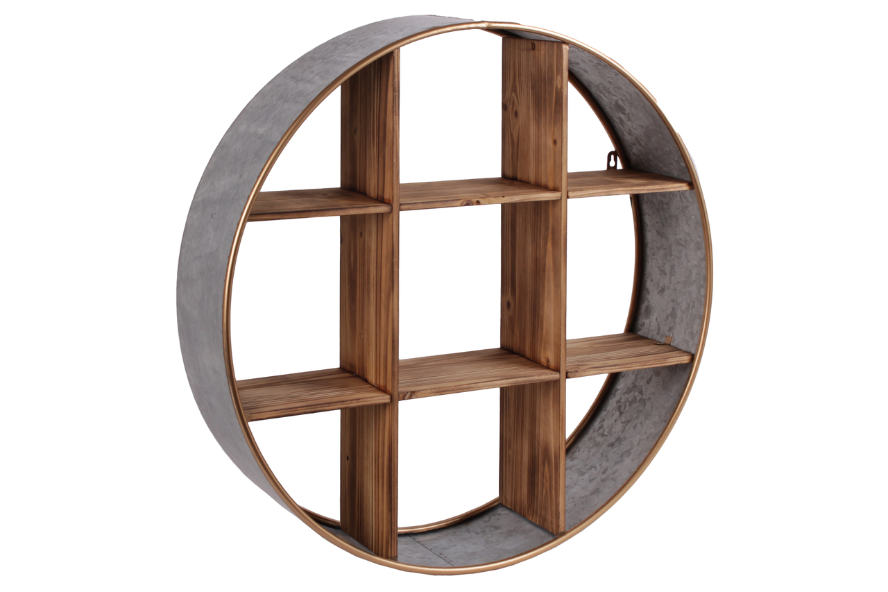 Metal Round Wall Shelf With Wood Divider 9 Slots And