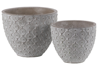 UTC54101 Cement Round Pot with Painted Embossed Concentric Circle Design Body and Tapered Bottom Set of Two Washed Finish Gray