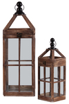 UTC54200 Wood Square Lantern with Metal Round Finial Top, Ring Handle and Window Pane Design Body Set of Two Natural Finish Brown