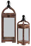 UTC54201 Wood Square Lantern with Metal Round Finial Top, Ring Handle and Glass Body Set of Two Natural Finish Brown