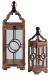 UTC54202 Wood Square Lantern with Metal Round Finial Top, Ring Handle and Circle in the Center Design Body Set of Two Natural Finish Brown