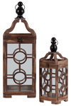 UTC54203 Wood Square Lantern with Metal Round Finial Top, Ring Handle and Double Circle in the Center Design Body Set of Two Natural Finish Brown