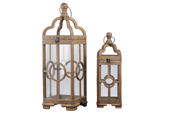UTC54207 Wood Square Lantern with Round Finial Top, Ring Handle and Center Circle Design Body Set of Two Natural Finish Brown