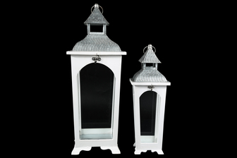 UTC54211 Wood Square Lantern with Corrugated Metal Flip Top, Ring Hanger and Glass Sides Design Body Set of Two Painted Finish White