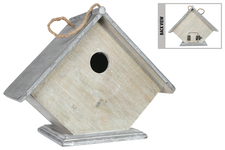 UTC54212 Wood Rectangle Bird House with Top Rope Hanger, Round Door Entrance and Porch on Flat Base Washed Finish Gray