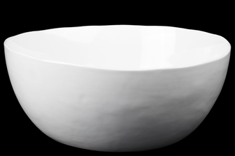 UTC54301 Ceramic Round Bowl with Irregular Lip and Tapered Bottom Gloss Finish White