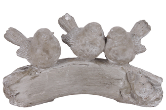 UTC54603 Cement Three Bird Figurines on Branch Concrete Finish Gray