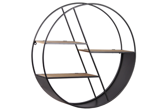 UTC54700 Metal Round Wall Shelf with 3 Tier, Drop Leaf and Wooden Surface Shelves Coated Finish Gunmetal Gray