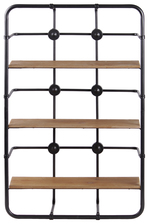 UTC54702 Metal Rectangular Wall Shelf with 3 Tier and Wooden Surface Coated Finish Gunmetal Gray