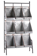 UTC54705 Metal Rectangular Shelf with 9 Bins and Painted Copper Edges Galvanized Finish Gray