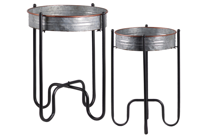 UTC54708 Metal Round Butler Tray Table with Painted Copper Edges Set of Two Galvanized Finish Gray