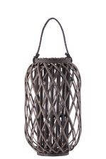 "UTC55017 Bamboo Round 19.50"" Lantern with Braided Rope Lip and Handle, Lattice Design Body and Hurricane Candle Holder Weathered Finish Taupe"