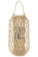 "UTC55031 Bamboo Round 23.50"" Lantern with Braided Rope Lip and Handle, Lattice Design Body and Hurricane Candle Holder Natural Finish Tan"