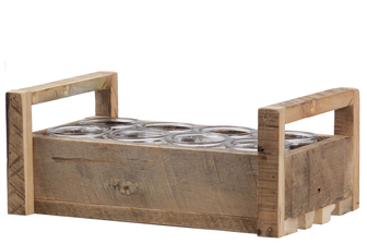 UTC55054 Wood Rectangle Tray with Side Handles and 8 Piece Round Glasses Natural Finish Brown