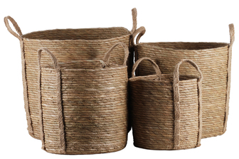 UTC55065 Maise Round Basket with Side Attached Handles and Knotted Rope Design Body Set of Four Natural Finish Brown