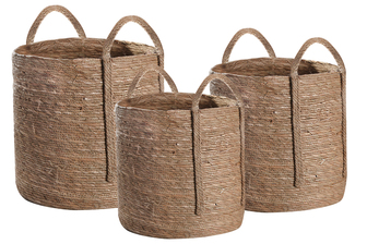 UTC55067 Maise Round Basket with Side Attached Handles and Knotted Rope Design Body Set of Three Natural Finish Brown