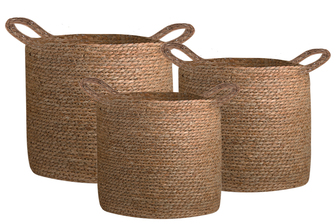 UTC55068 Maise Round Basket with Side Handles and Knotted Rope Design Body Set of Three Natural Finish Brown