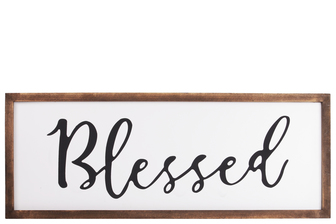 "UTC55101 Wood Rectangular Wall Decor with ""Blessed"" Script Painted Finish White"