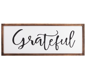 "UTC55102 Wood Rectangular Wall Decor with ""Grateful"" Script Painted Finish White"