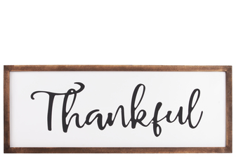 "UTC55103 Wood Rectangular Wall Decor with ""Thankful"" Script Painted Finish White"