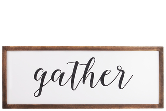 "UTC55104 Wood Rectangular Wall Decor with ""Gather"" Script Painted Finish White"