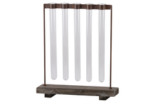UTC55107 Metal Clustered Hanging Bud Vase Holder with 5 Glass Tube Vases on Rectangular Wood Base on Stand Tarnished Finish Brown