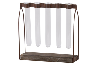 UTC55108 Metal Clustered Hanging Bud Vase Holder with 5 Glass Tube Vases on Rectangular Wood Base Tarnished Finish Brown