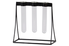 UTC55109 Metal Clustered Hanging Bud Vase Holder with 3 Short Glass Tube Vases Coated Finish Black