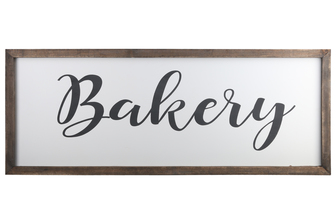 "UTC55115 Wood Rectangle Wall Art with Cursive Writing ""BAKERY"" and Metal Back Hooks Painted Finish White"