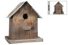 UTC55119 Wood Rectangle Bird House on Base with Metal Rustic Roof Design, Back Door and Hanger Natural Finish Dark Brown