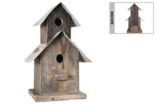 UTC55120 Wood Rectangle Double Deck Bird House on Base with Metal Rustic Roof Design, Back Door and Hanger Natural Finish Dark Brown
