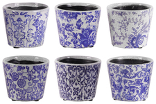 UTC55700-AST Terracotta Round Pot with Floral Design Body and Tapered Bottom Assortment of Six Craquelure Gloss Finish Blue and White