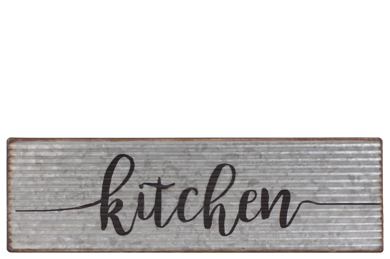 Metal Rectangle Wall Art With Kitchen Writing Design Galvanized Finish Gray