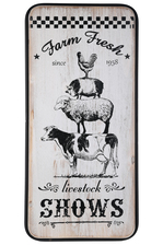 "UTC55814 Wood Rectangle Wall Art with Printed ""Farm Fresh"" Theme, Metal Frame and Back Sawtooth Hanger Distressed Finish White"