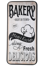"UTC55817 Wood Rectangle Wall Art with Printed ""Bakery Best in Town"" Theme, Metal Frame and Back Sawtooth Hanger Distressed Finish White"