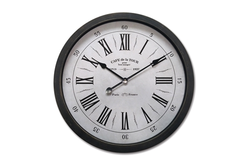 UTC55828 Metal Round Wall Clock with Box and Glass and Roman Numeric Design SM Metallic Finish Black