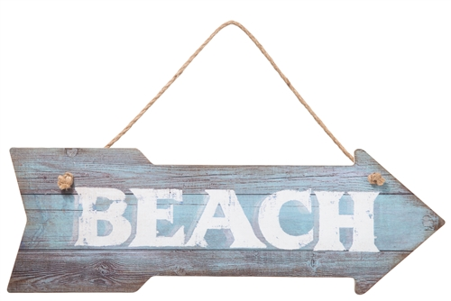 "UTC55832 Wood Arrow Wall Art with Top Rope Hanger and ""BEACH"" Writing Distressed Finish Multicolor"