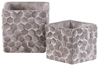 UTC56000 Cement Square Pot with Hexagonal Lattice Pattern Design Body Set of Two Washed Concrete Finish Gray