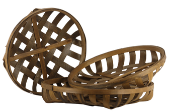 UTC56100 Wood Round Tobacco Basket with Lattice Design Set of Three Natural Wood Finish Brown