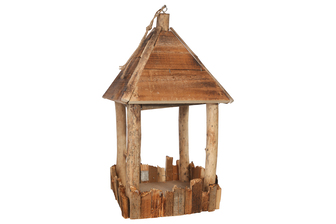UTC56118 Wood Square Hanging House Decor with Top Rope Hanger SM Natural Finish Brown