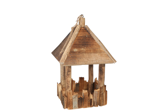 UTC56119 Wood Square Hanging House Decor with Top Rope Hanger LG Natural Finish Brown