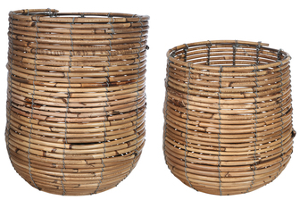 UTC56120 Bamboo Round Wooven Basket with Spiral Weave Design Body LG Set of Two Natural Finish Light Brown